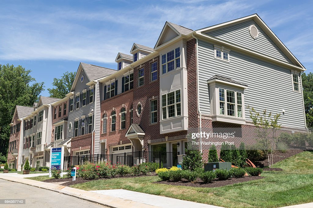 Row of homes at Admirals Ridge with the Edinburgh in the foreground on August 11 2016 in Arnold Maryland
