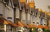 Row of house facades.