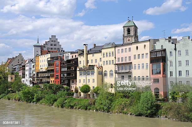 Row of houses alongside the river, Wasserburg am Inn, Bavaria, Germany, Europe