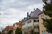Row of houses, tenement houses in Munich