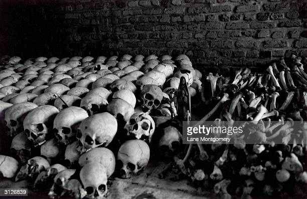 A row of human skulls and remains cover the interior of the Ntarama church which was destroyed during the genocide in Rwanda Kigali circa 1994