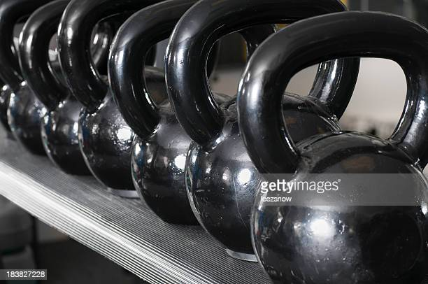 Row Of Kettlebell Weights