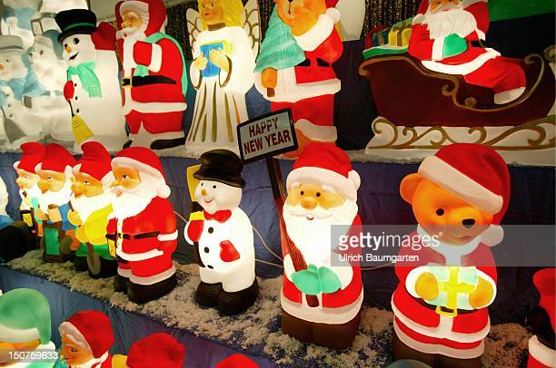 Row of lamps with the shape christmas figures