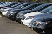 A row of Lexus cars is seen on the sales lot at Lexus of Marin on January 26 2011 in San Rafael California Toyota is recalling nearly 17 million...
