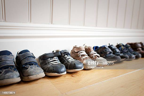 Row of little boy's shoes