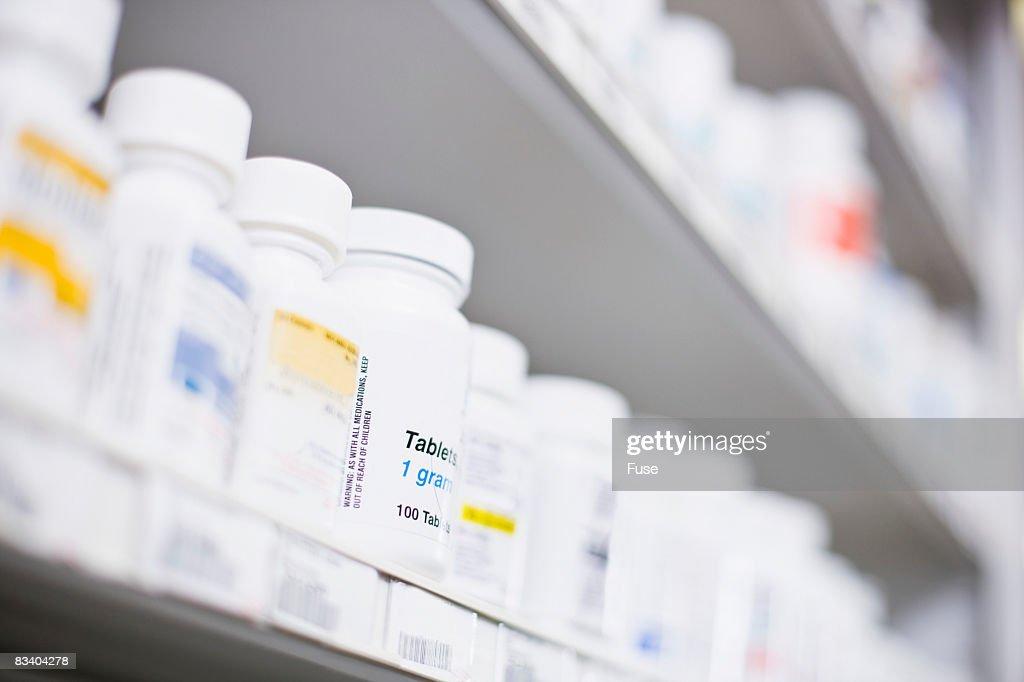 Row of Medication of Shelf
