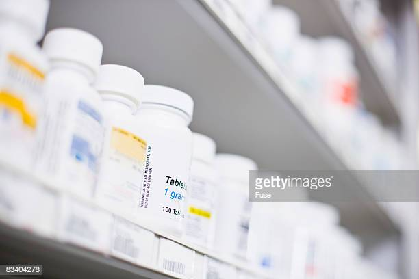 Row of Medication of Shelf