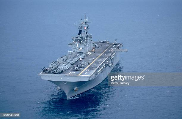 A row of military aircraft can be seen on the deck of the USS Kearsarge during a mission to rescue US Captain Scott O'Grady whose airplane was shot...