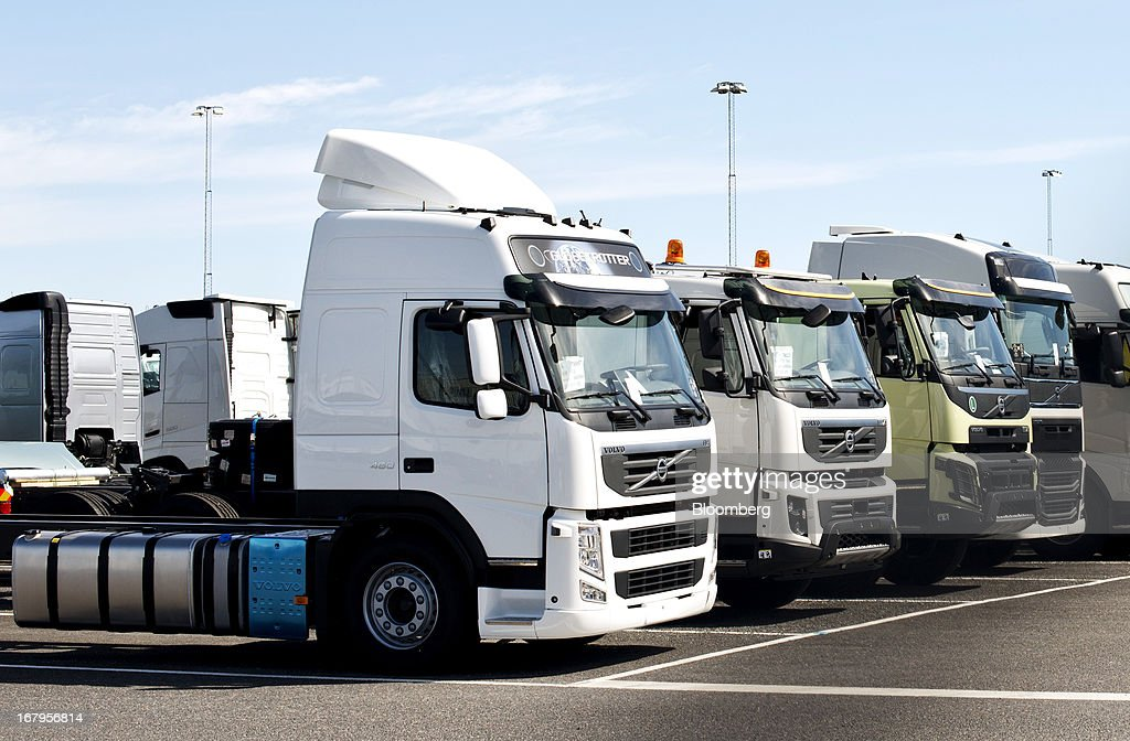 A row of new Volvo truck units are seen parked outside the Volvo AB plant in Gothenburg Sweden on Friday May 3 2013 Volvo AB the world's...