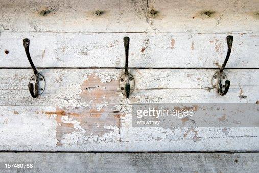 Row of old coat hooks