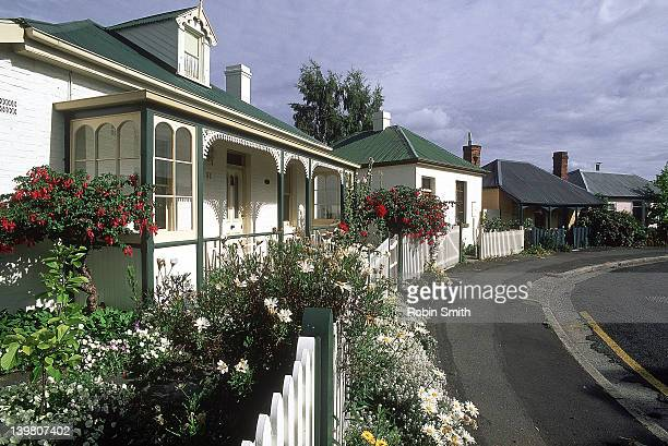 Row of old houses in Arthur's Circus, Battery Point, Hobart, Tasmania