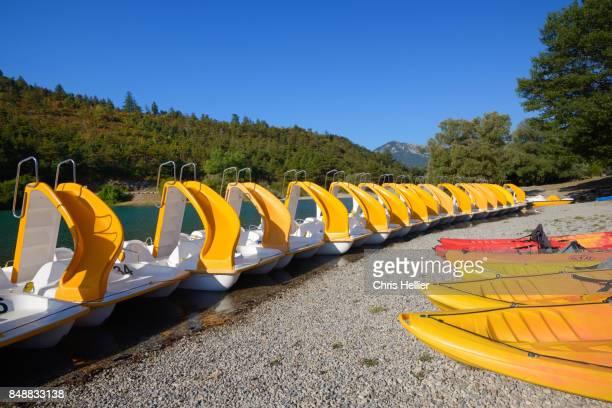 Row of Paddle Boats or Pedalos Castillon Lake