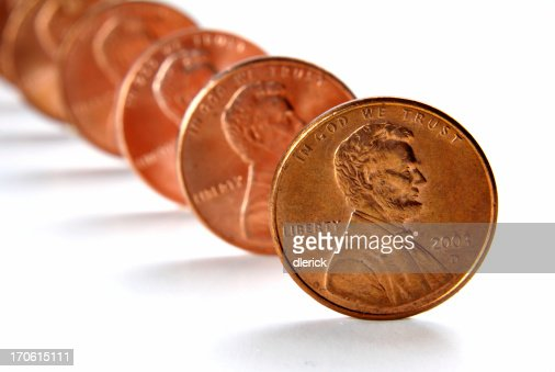 row of pennies