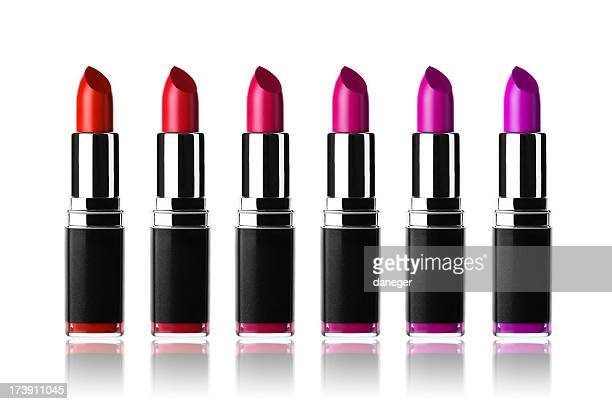 Row of pink and purple lipsticks