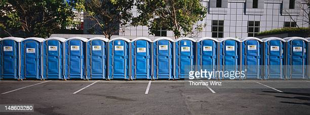 Row of portable public toilets set up for following day's Gay Pride celebration.