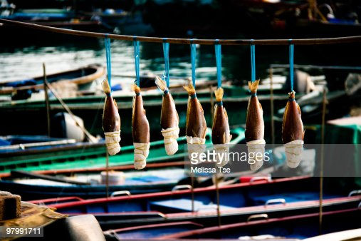 A row of preserved salted fish among fishing boats