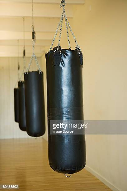 A row of punch bags