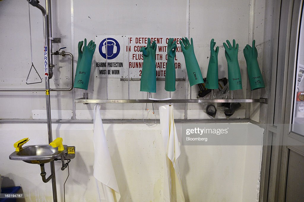 A row of rubber gloves dry on racks at the Tasmanian Heritage cheese plant, operated by Kirin Holdings Co.'s Lion unit, in Burnie, Tasmania, Australia, on Monday, Feb. 25, 2013. Australia's economy expanded in 2012 at the fastest pace in five years as resource investment and exports outweighed subdued manufacturing and construction. Photographer: Carla Gottgens/Bloomberg via Getty Images