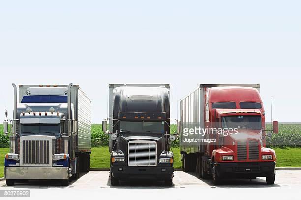Row of semi-trucks