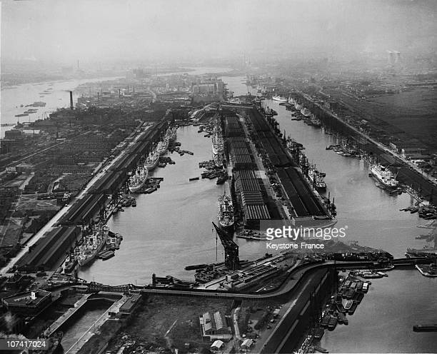 Row Of Ships On River Thames During The Dock Strike In London On October 1954