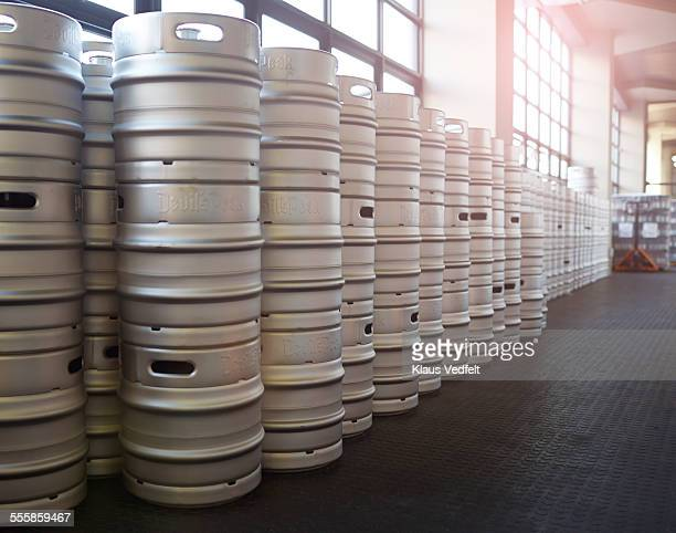Row of stacked beer keg's