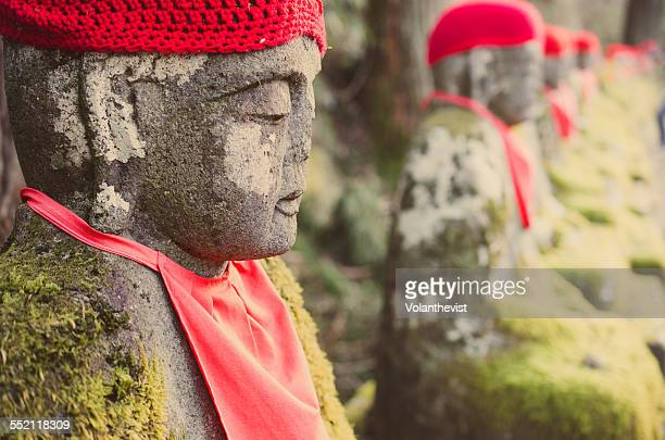 Row of stones Jizo statues in Japan
