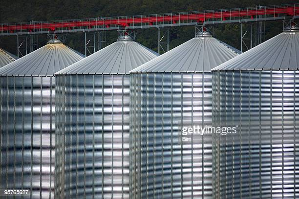 Row of Storage Silos