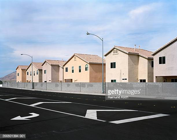 Row of suburban houses in gated community
