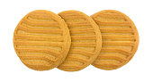 Top view of three sugar free shortbread cookies in a row isolated on a white background.