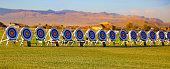 targets lined up before a competition in the desert.