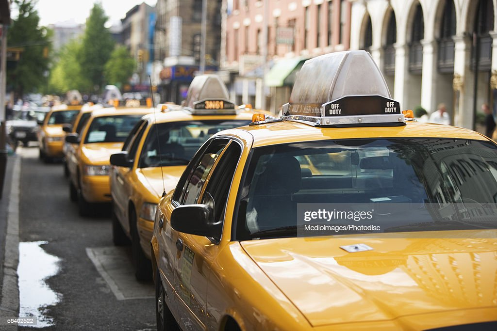 Row of taxis in New York City, NY, USA : Stock Photo