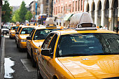 Row of taxis in New York City, NY, USA