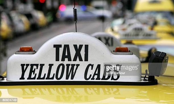 A row of taxis parked on the side of the road as Melbourne taxi drivers protest in front of Flinders Street Station on April 30 2008 in Melbourne...
