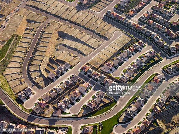 Row of terrace houses, aerial view