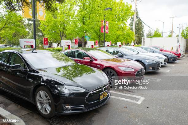 Row of Tesla Motors sedans charging at a supercharger station in the Silicon Valley town of Mountain View California April 7 2017
