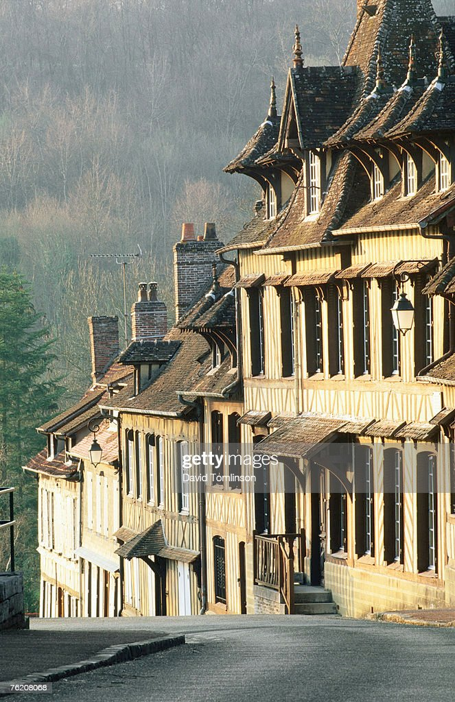 Row of timbered houses along steep hill, Lyons-la-Foret, Eure, Haute-Normandy, France, Europe : Stock Photo