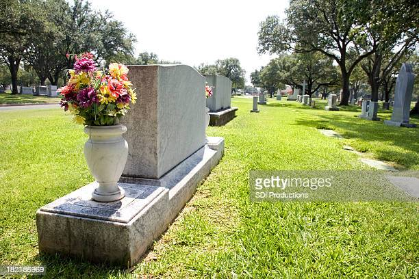 Row of Tombstones at a Cemetery
