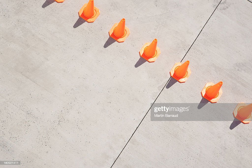 Row of traffic cones : Stock Photo