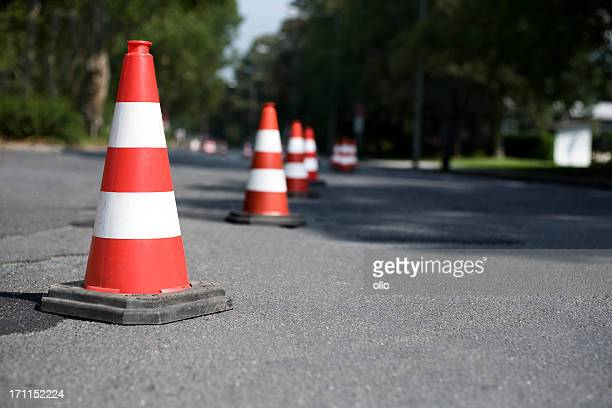 Row of traffic cones - selective focus