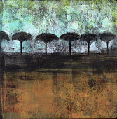 Acrylic painting of an abstract landscape with silhouetted trees.