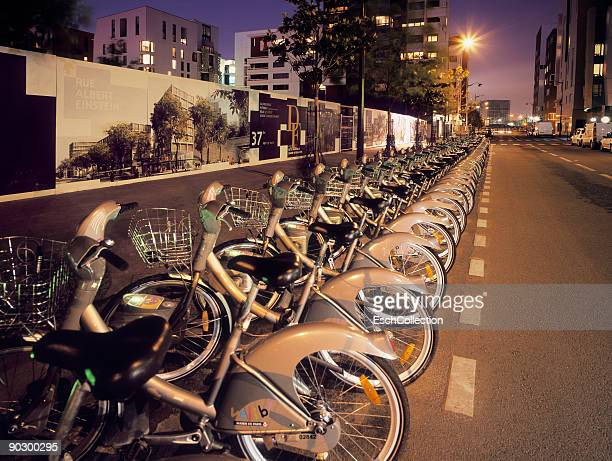Row of Velib rental bikes in the centre of Paris.