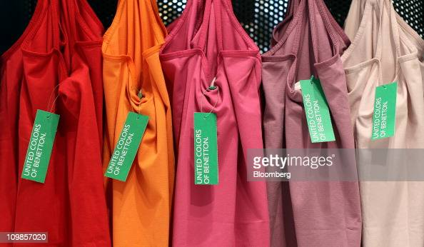 A row of vest tops sit on display at the United Colours Of Benetton store in Oxford Circus London UK on Tuesday March 2011 Benetton Group SpA Italy's...