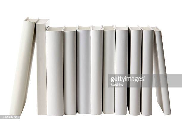 Row of white blank books spine on white background