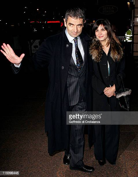 Rowan Atkinson and wife Sunetra Sastry during 'Keeping Mum' London Premiere at Vue Cinema Leicester Square in London Great Britain