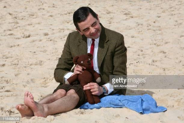 Rowan Atkinson as 'Mr Bean' during Mr Bean Comes to Town Photo Call at Bondi Beach in Sydney NSW Australia
