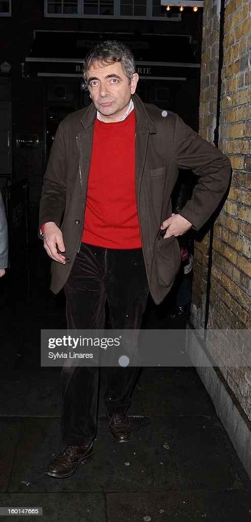 Rowan Atkinson leaving Wyndham Theatre on January 26, 2013 in London, England.