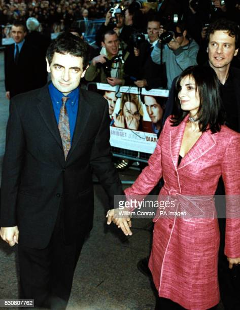 Rowan Atkinson with his wife Sunetra arrive for the UK premiere of 'Bridget Jones Diary' at the Empire in London's Leicester Square