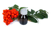 rowan berries tincture in small glass bottle, isolated on white background