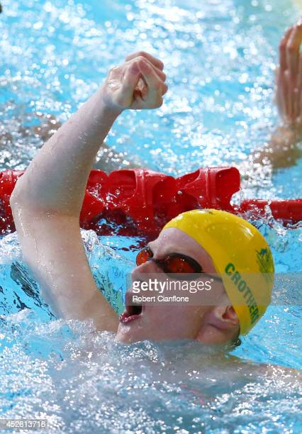 Rowan Crothers of Australia celebrates winning the gold medal in the Men's 100m Freestyle S9 Final at Tollcross International Swimming Centre during...