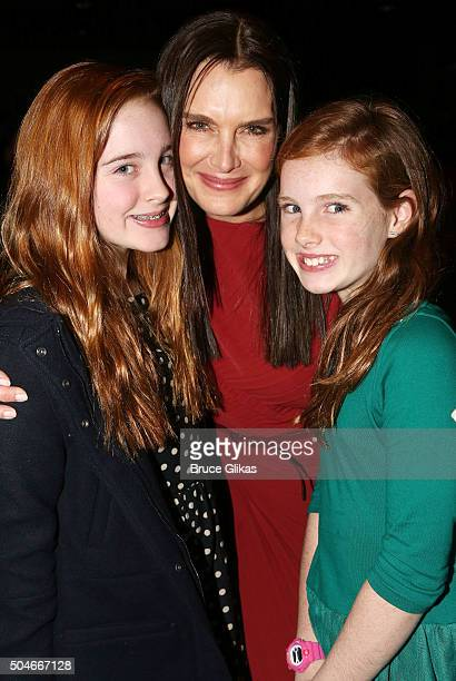 Rowan Francis Henchy mother Brooke Shields and sister Grier Hammond Henchy pose at the Opening Night for 'Maurice Hines Tappin' Thru Life' at New...